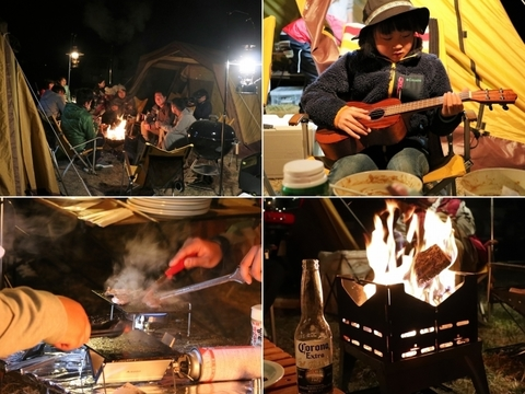 FDCamp_無印良品カンパーニャ嬬恋キャンプ場_夜_キャンファイヤー_鉄板焼き_OGAWA_ テント展示会