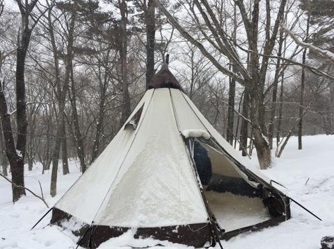 雪中キャンプ_テント_ピルツ_TC_雪_サラサラ