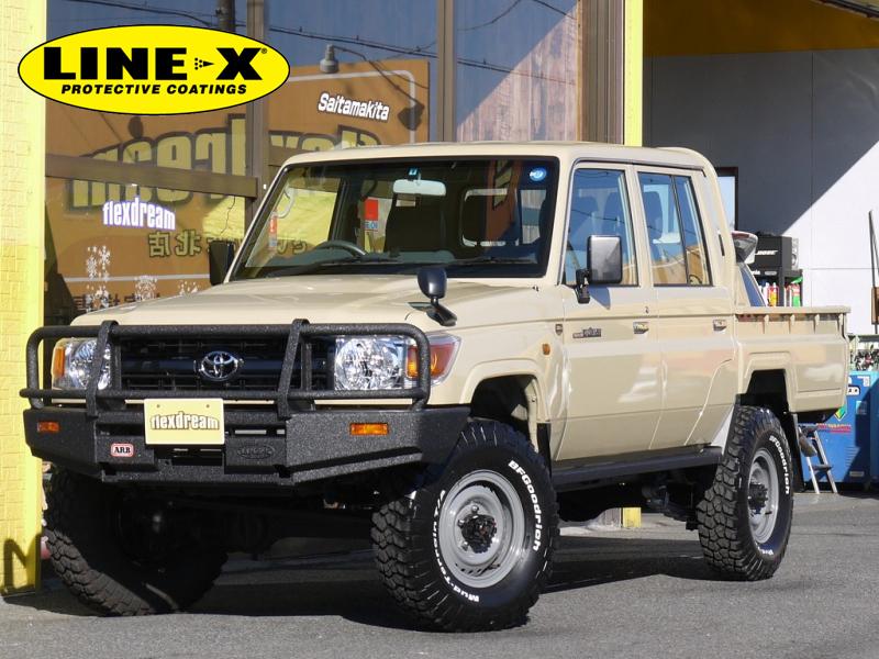 ランクル70 79ピックアップ×キープスラントサスペンション・ARBバンパー・LINE,X塗装