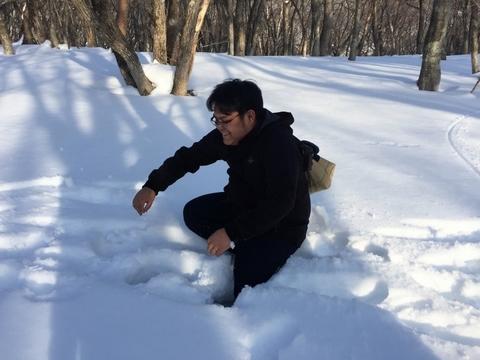 雪中キャンプ_笑'Sベース_雪_スタッフ_落ちる
