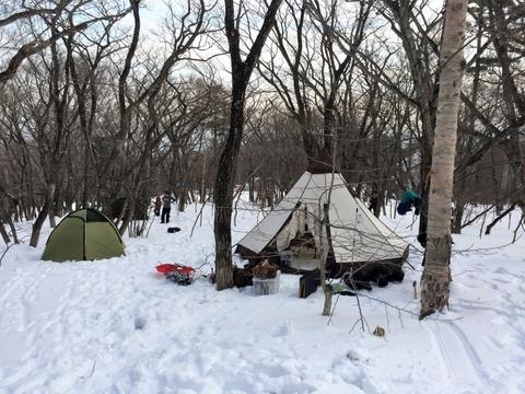 雪上キャンプ_OGAWA_テント_ピルツ15TC_HOZ_笑'Sベース