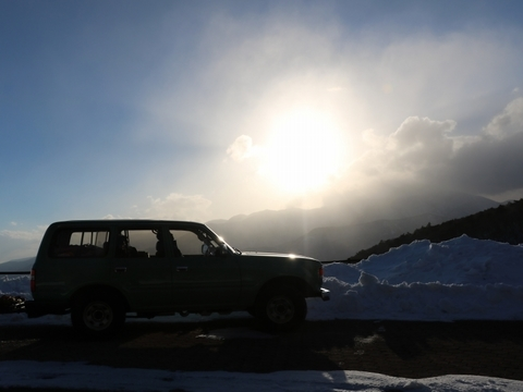 雪中キャンプ_夕陽